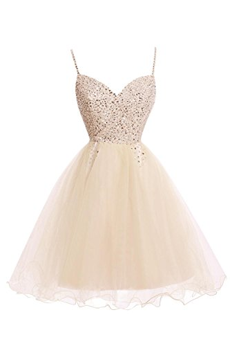 Bess Straps Women's Homecoming Champagne Bridal Dress Sequined with Short Beaded FTqx4Zrw8F