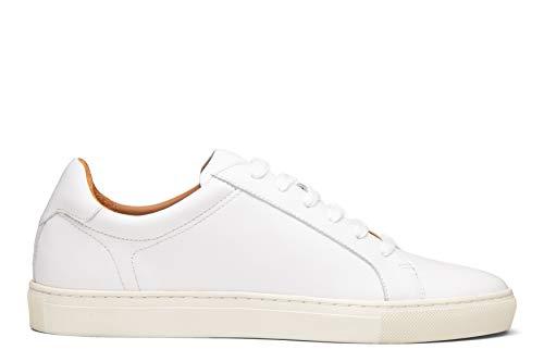 Dunross & Sons Harvey Men's Low Top Sneaker (7, White)