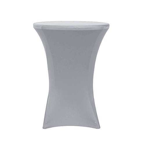 Your Chair Covers - 32 inch Cocktail Round Stretch Spandex Table Cover -Silver, Stretch - Elegance Silver Tablecloth