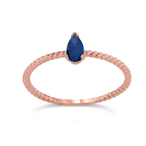 Sapphire Rose Ring (Dainty 10k Rose Gold Solitaire Sapphire Pear-Shaped Modern Engagement Rope Ring (Size 9.5))