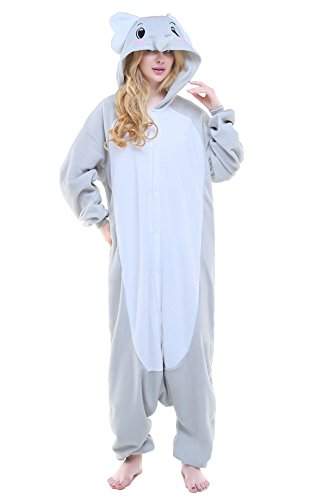 Canasour Unisex Adult Elephant Pajamas- Plush One Piece Costume (S, Grey)