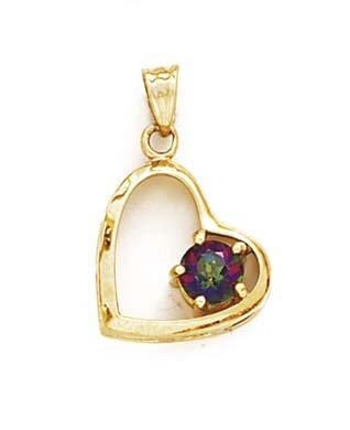 Mystic Topaz 14 Carats Pendentif Coeur-JewelryWeb