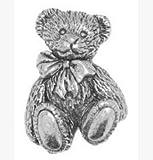 Gift Boxed Pewter Langdale Ted Teddy Bear Tie - Lapel Pin Brooch Badge