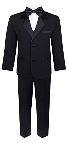 (Boy's 5-Piece Tuxedo Set - Black, 8)