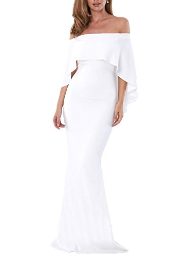 AlvaQ Women Ladies Plus Size Sexy Slash Neck Short Sleeve Evening Gown Wedding Mermaid Bodycon Maxi Dresses Bridesmaid Prom Dress for Maternity Juniors White Medium