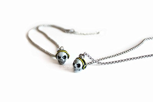Skull DJ Necklace,Steel Pendant Necklaces,Neon Yellow, Rock n Roll Jewelry,Skull Charm,Unisex Jewelry,Halloween Gift Idea
