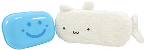 Adorable 3 Tier (Smiley Face Soap Dish 4.5 x 3 Inches and Whale Bath Sponge on a String Cream and Neon Blue (2 Piece Set))