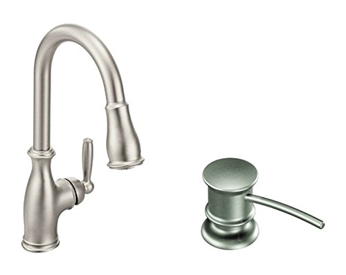 - Moen Brantford One-Handle High Arc Pulldown Kitchen Faucet Featuring Reflex, Spot Resist Stainless (7185SRS) with Kitchen Soap and Lotion Dispenser