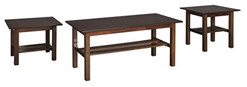 Lewis Wood - Ashley Furniture Signature Design - Lewis Occasional Table Set with Plank Style Shelves - Contains Cocktail Table & 2 End Tables - Contemporary - Medium Brown