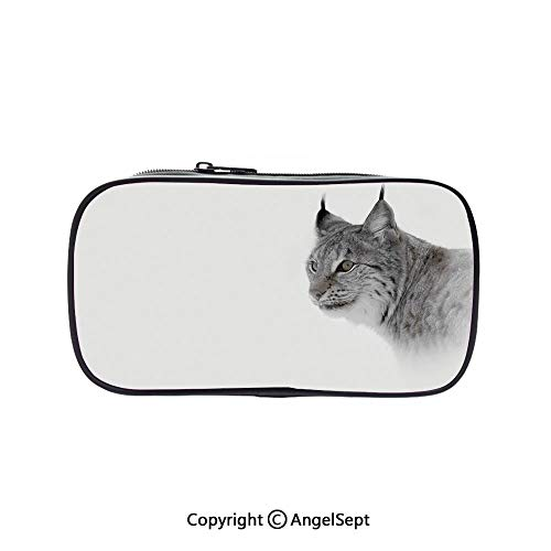 Pen Case Office College School Large Storage,Lynx in Central Norway Wild Cat North Cold Snowy Mountain Carnivore Predator Grey White 5.1inches,Box Organizer New Arrival