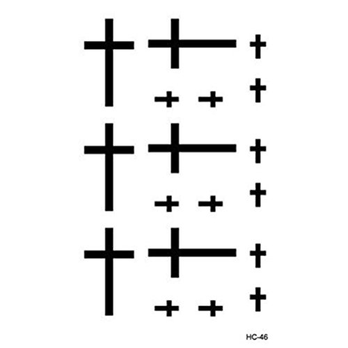 Waterproof Cross Finger Face Tattoo Sticker Fake Transfer Body Art Temporary Tattoo for -