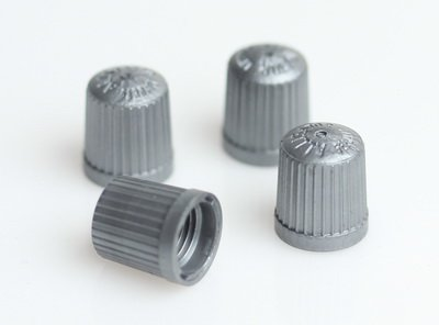 BMW TPMS Wheel Valve Stem Cap set Gray ( x4 ) tire air fill screw on cover (Plastic Cap Valve Stem Tire)