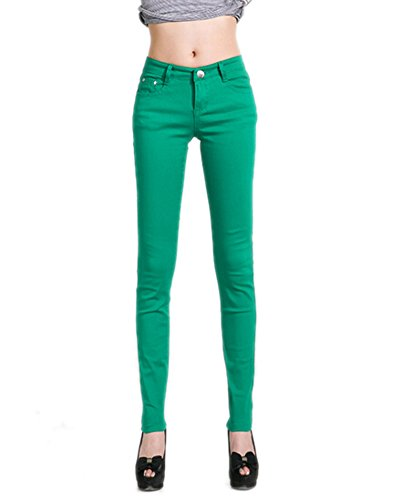 Deley Verde Pantaloni Jegging Juniors Leg Stretch Jeans Fit Solide Donne Basic Skinny HqrHp