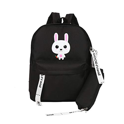 Bag in Backpack Bags BANAA Students Cross Adult Bag Black Bags Totes Cartoon Bag School Shoulder Cotton Handbags FabricTeenage Travel Body Canvas Rabbit EqZtZ