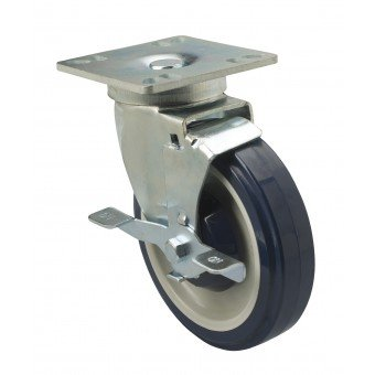 Focus Foodservice FPCST5 Set of 4 - 5 in. plate casters with brakes. 4 in. square plate by Focus Foodservice