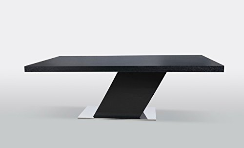 Limari Home The Georgi Collection Modern Stainless Steel Metal & Veneer Contemporary Rectangular Kitchen Dining Room Table, Black
