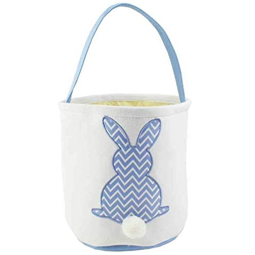 MR. HOPPY - Easter Basket - Canvas Tote - Easter Egg Hunts - Storage Tote for Home Decor (Chevron Blue)