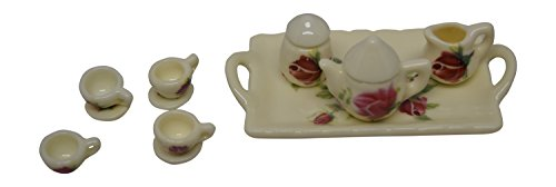Tea 279 - 1:12 Scale 14 Piece Mini Dollhouse Size Pink Rose Floral Tea Set with Teapot, Sugar, Creamer, Four Cups and Saucers, and Plate by Anny's