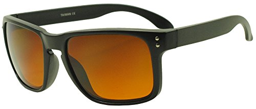 Sunglass Stop - Flat Black Square Blue Blocking Blocker Driving Sports Sunglasses (Matte Black, Orange (Blue - Blocker Shades Blue