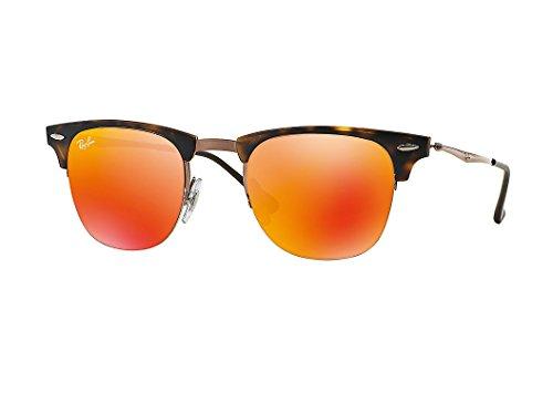 Ray-Ban TITANIUM MAN SUNGLASS - SHINY LIGHT BROWN Frame BROWN MIRROR ORANGE Lenses 51mm - Ban Orange Ray Clubmaster