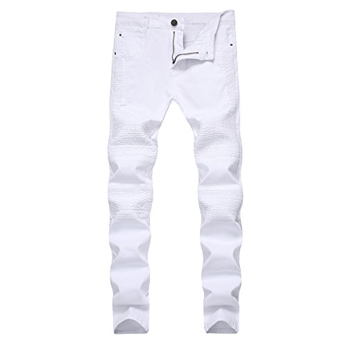 CLOTPUS Men's Biker Moto Skinny Denim Jeans Tapered Leg Ripped Slim Fit Stretchy(White ()