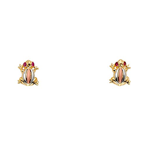 Sonia Jewels 14k White Yellow And Rose Gold Cubic Zirconia CZ Frog Set Drop Womens Earrings 10MM X 8MM