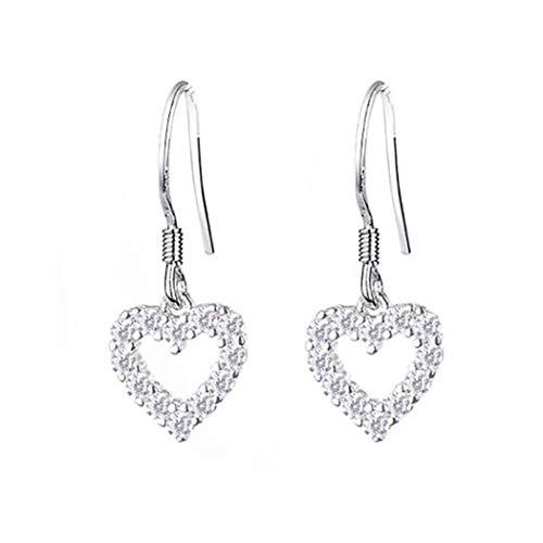 Campsis 925 Sterling Silver Earrings Hollow Heart Dangle Stud Earring Simple Hypoallergenic Earring for Women and Girls Amazing 925 Sterling Silver Earring