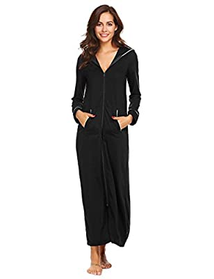 Sholdnut Women Hooded Long Sleepwear Soft Long Sleeve Zip Up A-Line Robes With Pockets