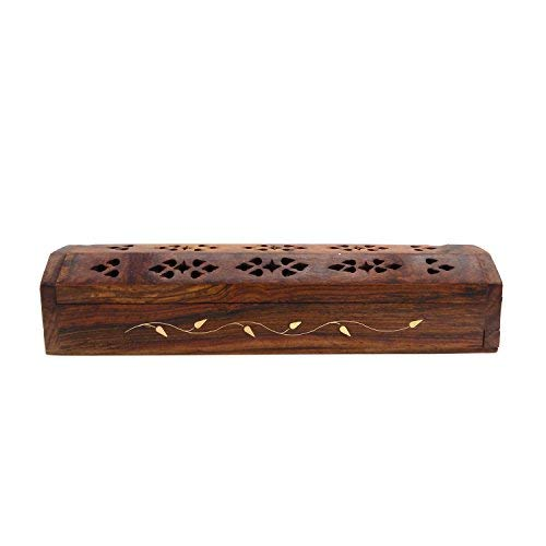 WhopperIndia Wooden Coffin Incense Burner Storage Compartment Incense Holder with Hand Carved Flower & Brass Inlay Design 11 ()