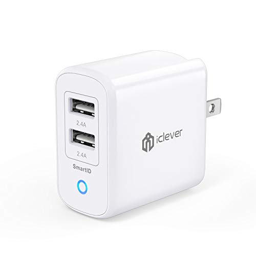 iClever BoostCube II USB Charger 24W Dual Wall Charger with SmartID Technology, Foldable Plug, for iPhone Xs/XS Max/XR/X/8/7/6/Plus, iPad Pro Air/Mini, Samsung S4/S5, HTC and More