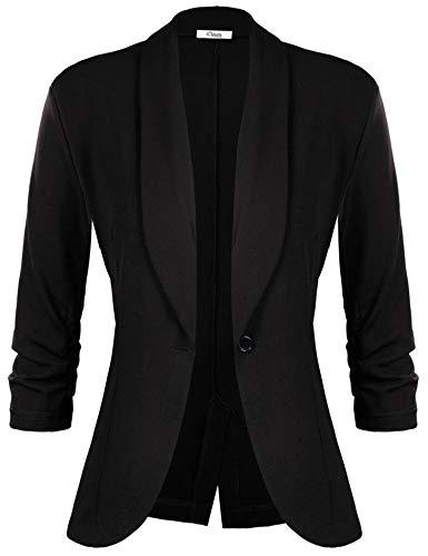 (iClosam Women Blazer Jacket 3/4 Ruched Sleeve Open Front Lightweight Work Office Cardigan Black)