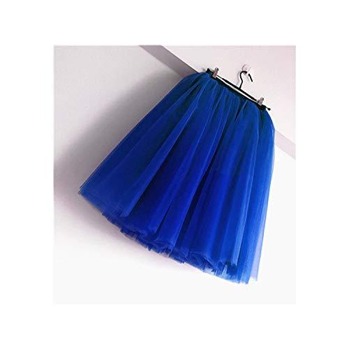 7 Layers Knee Length Tulle Skirt Tutu Women Skirt High Waist Pleated Skirt,Royal Blue,5XL