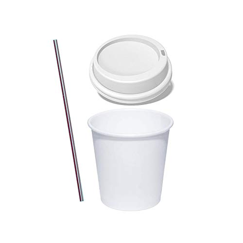 (Set of 50) 4 oz White Paper Hot Cups with Lids, BONUS Stirrers, Ideal to go Espresso Shot Cups with Travel Covers