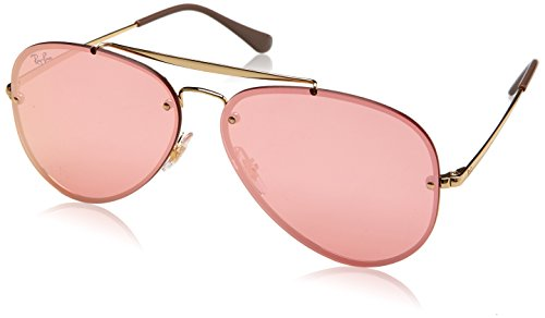 Ray-Ban RB3584N Blaze Aviator Sunglasses, Gold/Pink Mirror, 61 mm (Pink Ray Ban Aviators)