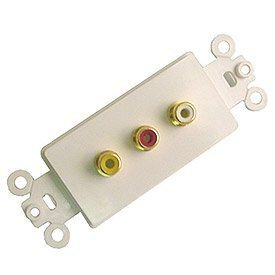 Calrad Electronics 28-106-P Gold Plated Triple RCA Decora-Style Insert - White ()