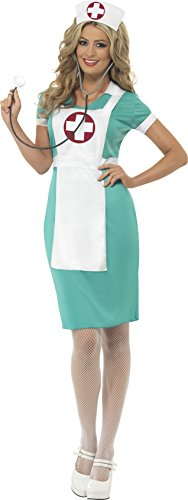 Smiffy's Women's Scrub Nurse Costume, Dress, Mock Apron and Headpiece, Accident and Emergency, Serious Fun, Size 10-12, 25870 (Halloween Costume Nurse)