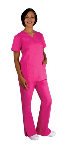 Scrubs-Cherokee Workwear Women's Scrub Set with Mock Wrap Top and Low Rise Flare Leg Pant (Navy, X-Small) (Low Leg Flare Pant Rise)