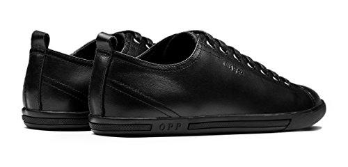 OPP Hombres Sneaker Zapatos de Piel Diseño de marca Negro
