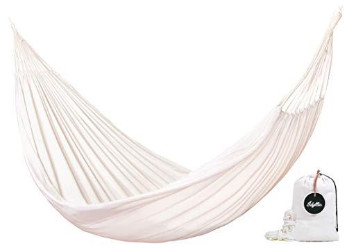 Idyllic Tulum Hamaca Blanca Jumbo - Incluye 2 Cuerdas de Nylon y Bolsa de Transporte - Calidad Premium para 2 Personas -...