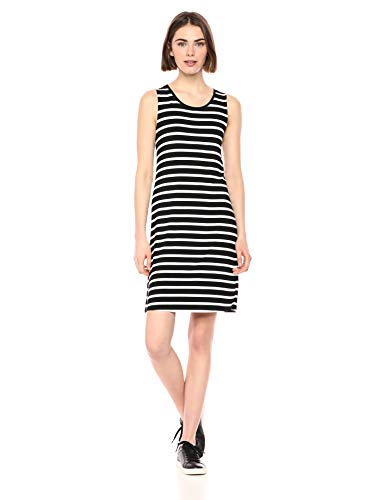 Amazon Essentials Women's Patterned Tank Swing Dress, French Stripe Black, XL (Add Visa Gift Card To Bank Account)
