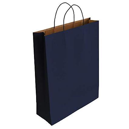 50 x Bolsa de Papel Kraft Azul con Asas Rizadas (32 x 24 x 10 cm)
