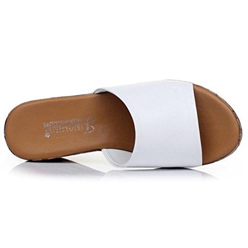 Btrada Mujer Peep Toe Plataforma Antideslizante Cuña Sandalias De Playa Blanco