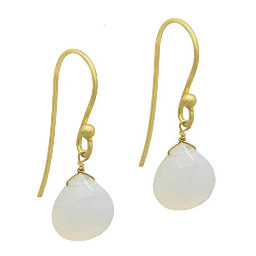 The V Collection Earrings Women's Gold Plated Dangling White Chalcedony Gemstone Handmade Jewelry for Women and Girls