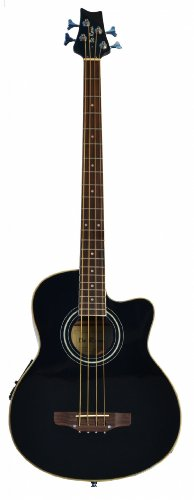 Cutaway Black Acoustic Electric 4 String Bass with 4 EQ & DirectlyCheap(TM) Translucent Blue Medium Guitar Pick