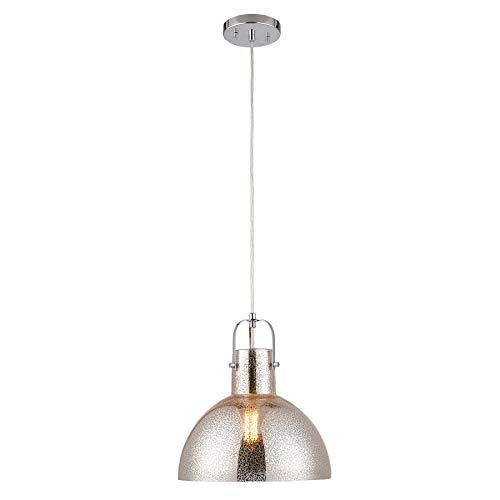 CO-Z One Light Modern Chrome Finish Crackled Glass Pendant Light, Contemporary Mercury Glass Shade Ceiling Hanging Lighting Fixture for Kitchen Island Dining Table with Edison Bulb
