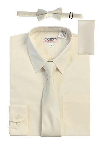 Gioberti Boy's Long Sleeve Dress Shirt with Zippered Tie, Bow Tie, and Handkerchief Set, Ivory, Size 10