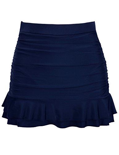 Firpearl Ruched Swimsuit Bottom Ruffle Bikini Skirts US14 Navy
