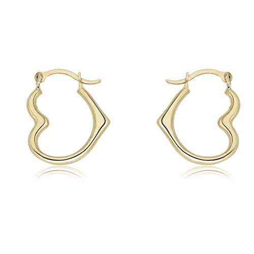 (10K Yellow Gold Heart Polished Hoop Earrings)