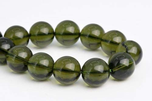 (12mm Genuine Natural Moldavite Meteorite Czech Republic Round Loose Beads 4'' Crafting Key Chain Bracelet Necklace Jewelry Accessories Pendants)