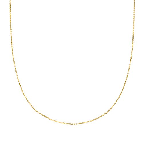 Ritastephens 18k Solid Yellow Gold Diamond-cut Cable Chain Necklace 18 Inches 1.1 Mm ()